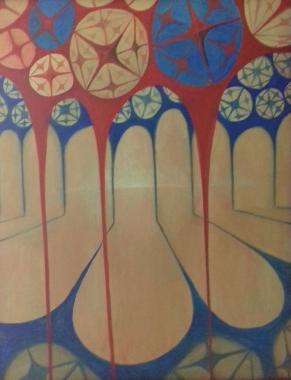 Säulenhalle 2002 Öl auf Hartfaser80 x 100 cm