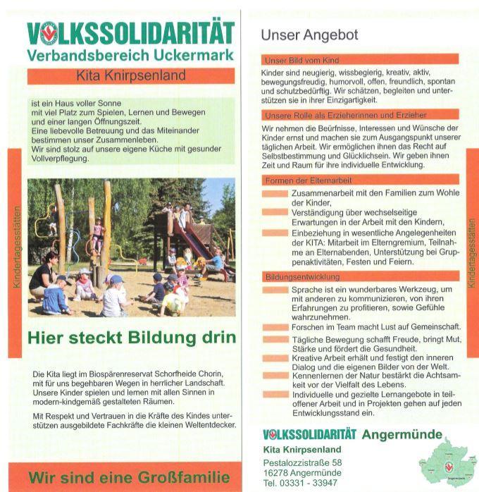 Flyer Volkssolidarität / Kita Knirpsenland