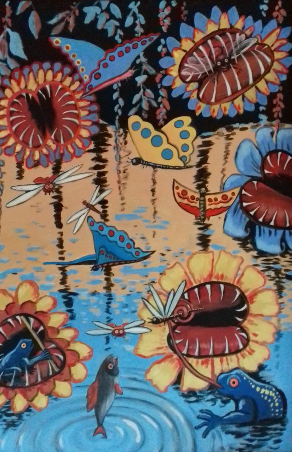 Sumpf mit fleischfressenden Pflanzen2018 Öl/Acryl auf Leinwand   100 x 140 cm