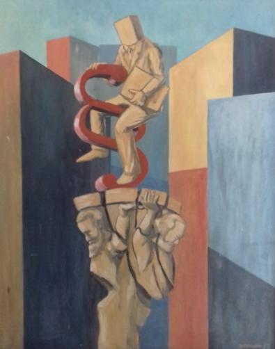Reiterstandbild1983 Öl auf Hartfaser71 x 90 cm
