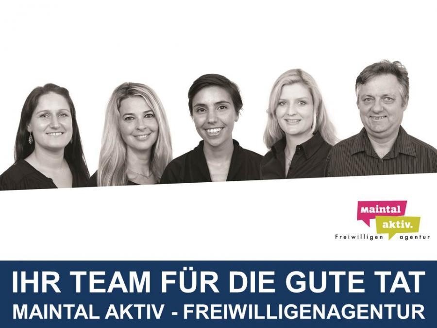 Link zu Wer wir sind; Bild zeigt das Team der Maintal Aktiv - Freiwilligenagentur - Ihr Team für die gute Tat