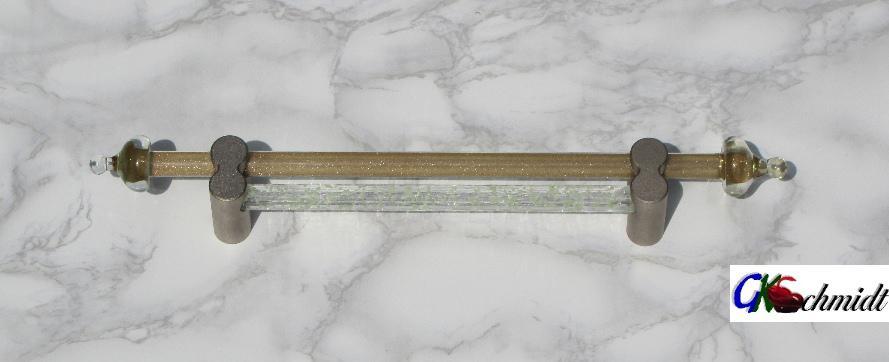 Doppelstabgriff, durchgehend, mit Rundhaltern, erster Stab Klarglas mit Goldfluss & Hütchenverzierung, zweiter Stab Leuchtstab, grob