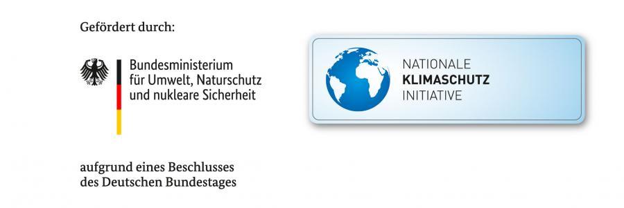 Bild zeigt Logos und den Text: Gefördert durch: Bundesministerium für Umwelt, Naturschutz und nukleare Sicherheit aufgrund eines Beschlusses des Deutschen Bundestages; Nationale Klimaschutz Initiative