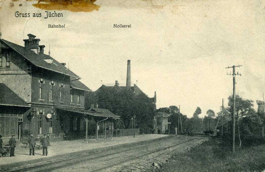 Gruss aus Jüchen Bahnhof Molkerei 1908