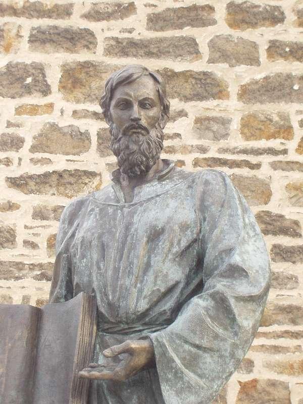 Bild: Statue des Lutherschülers und Reformators Bartholomäus Riseberg aus Mieste in der Altmark