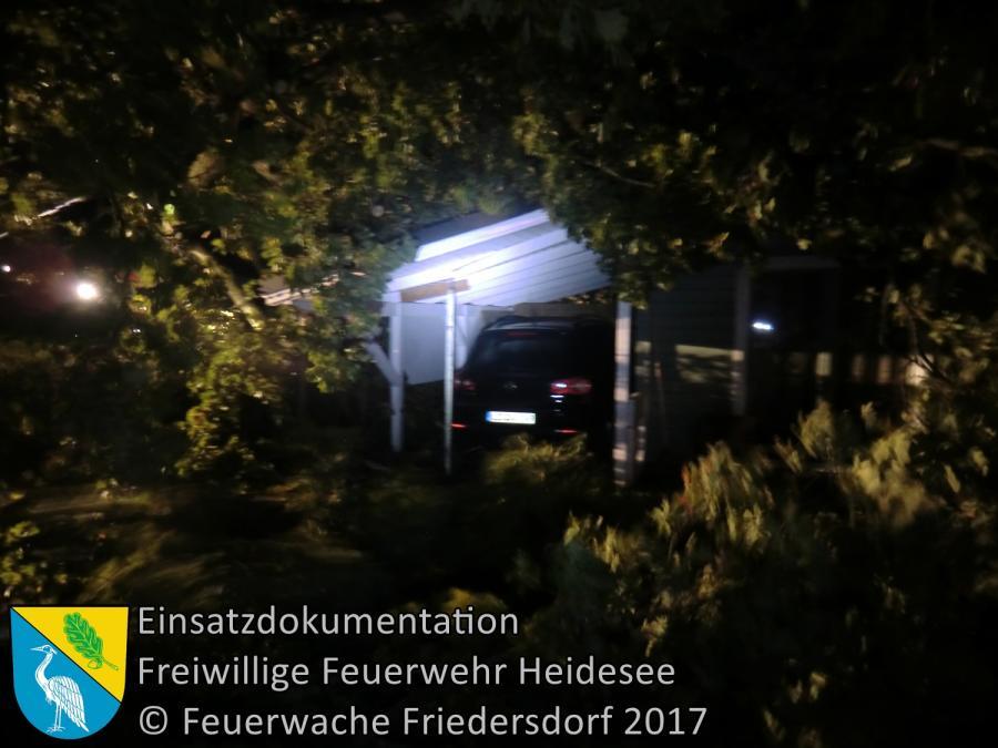 Einsatz 222/2017 | Baum auf PKW und Haus | Wenzlow Wenzlower Straße | 05.10.2017
