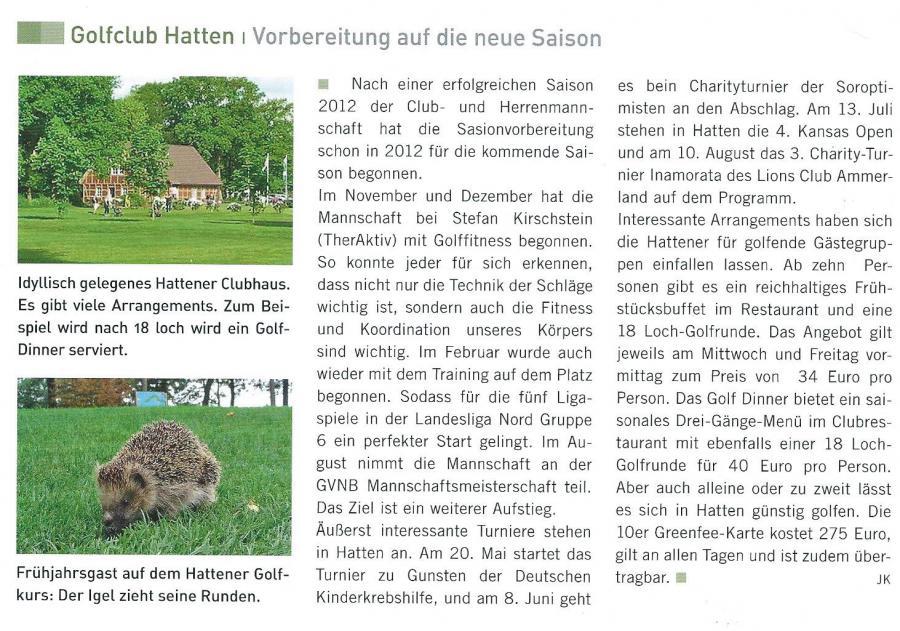 Golfmagazin Weser-Ems Frühjahr 2013