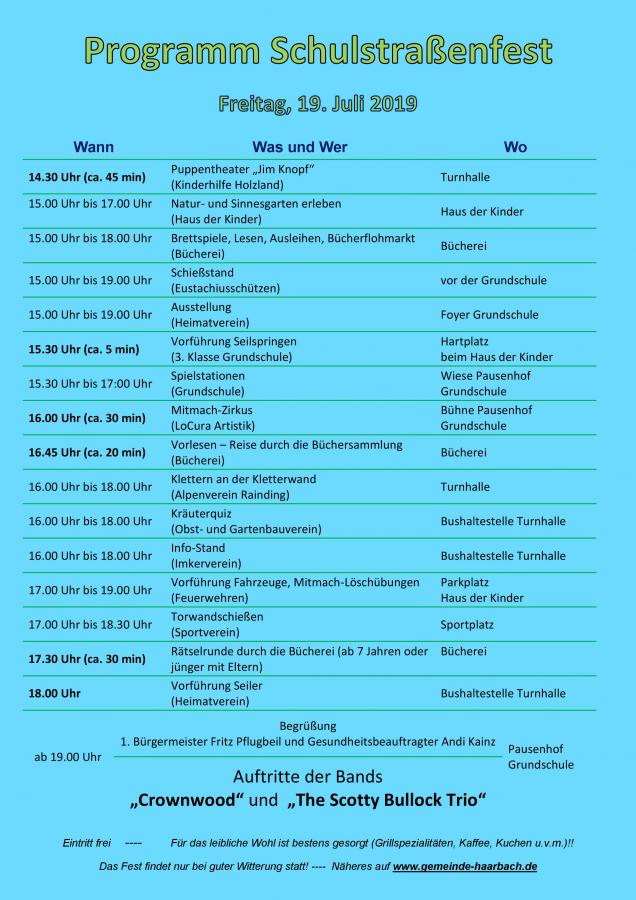 Programm Schulstraßenfest