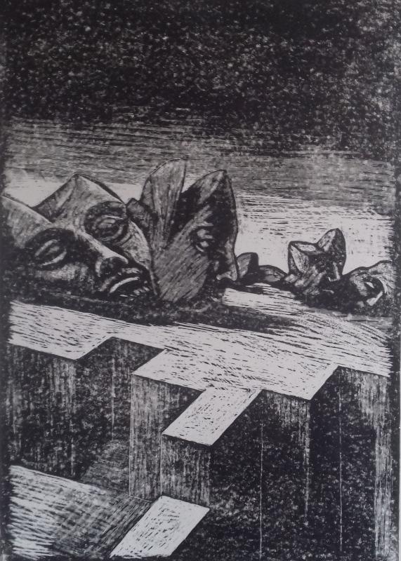 Gewirkt und vergangen1986 Zementsteindruck30 x 42 cm