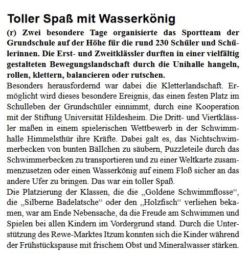 Schwimmaktionstag Text Stadtteilzeitung April 2018