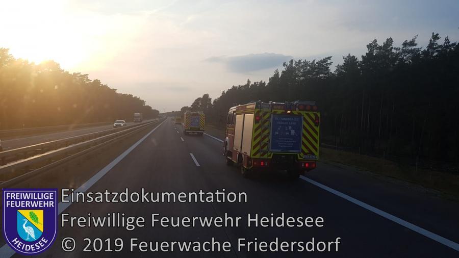 Einsatz 132/2019 | LKW Brand > keine Feststellung | BAB 12 AS Friedersdorf - AS Storkow | 29.08.2019