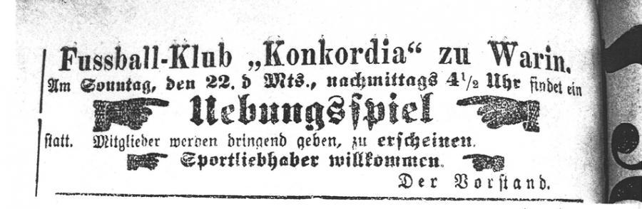 Auszug aus der Wariner Zeitung um 1910