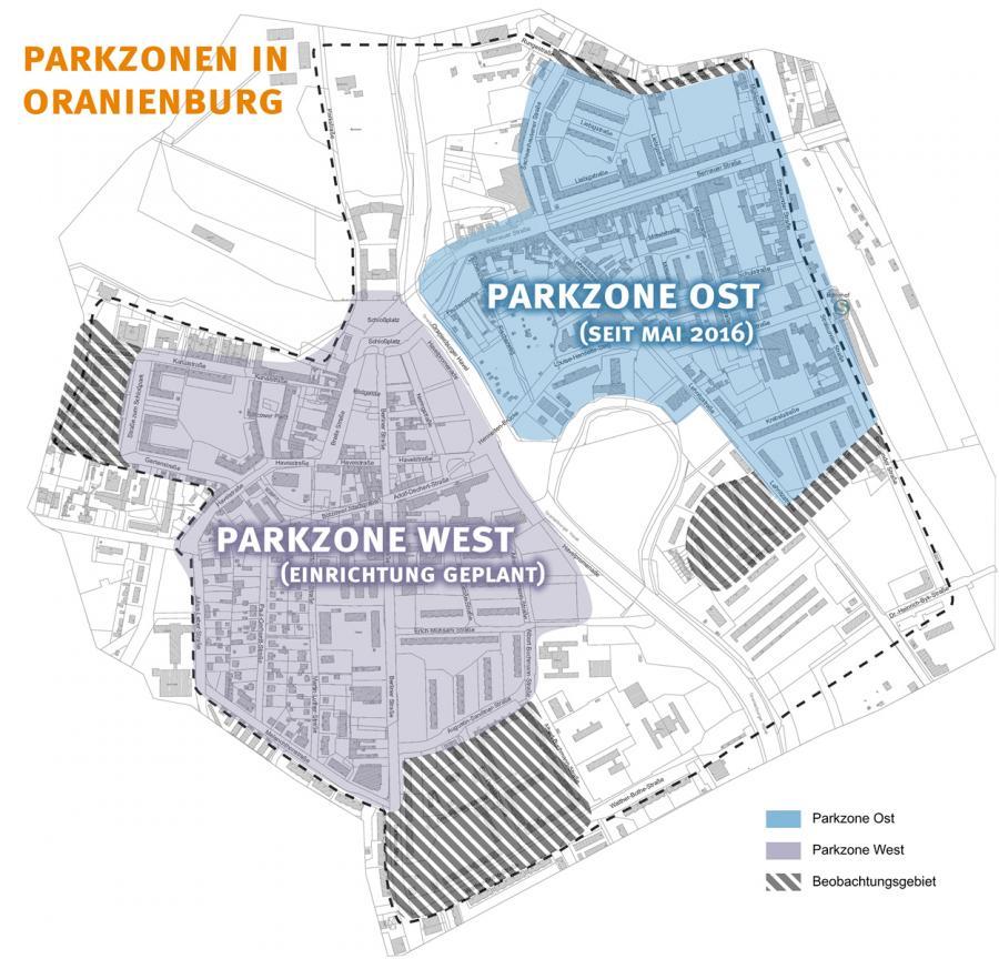 Bestehende und geplante Parkzonen in Oranienburg (2016)