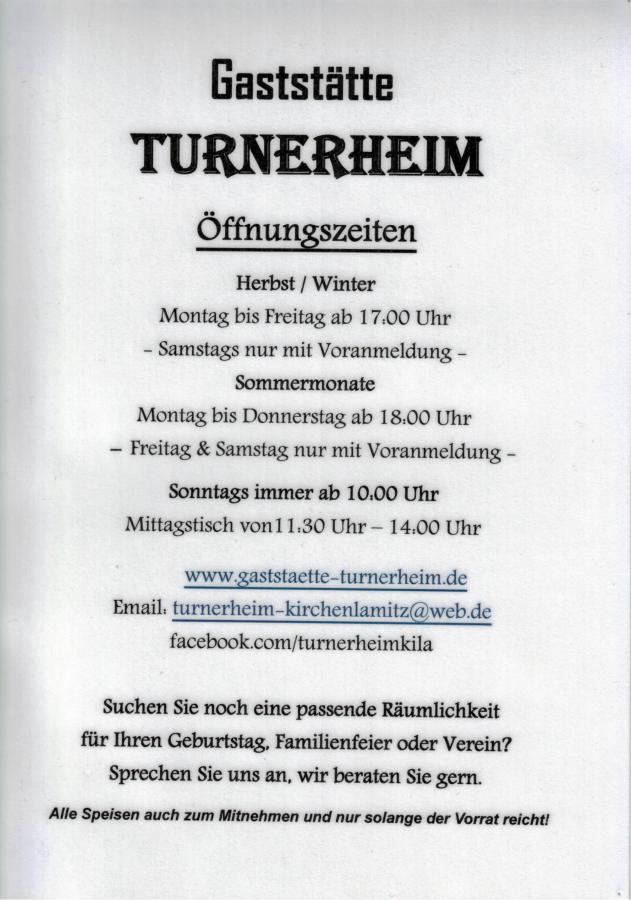 Turnerheim Öffungszeiten