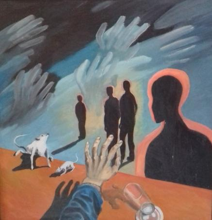 2. Die Phase der Selbstzerstörung1988 Öl auf Hartfaser79 x 82 cm