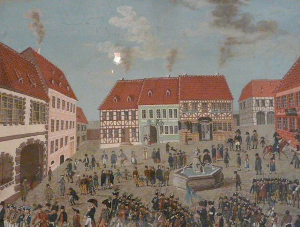 Stadtansicht.Kuhschwanzfest.Eisfeld. Marktplatz.1809