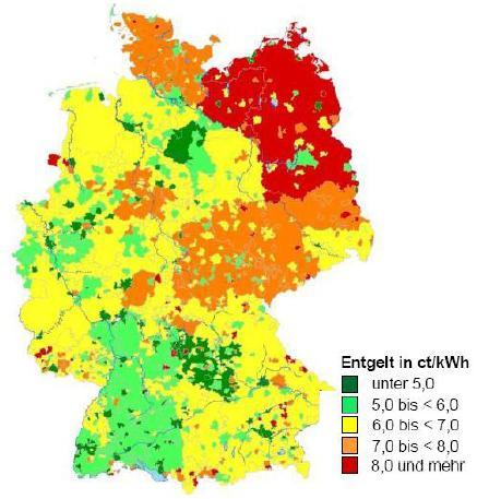 Netzentgelte 2014 (2500KWh ohne Leistungsmessung in Niederspannung) (Quelle: ene t-Datenbank, EnviaM)