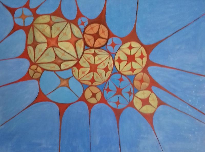 Zellen2003 Öl auf Hartfaser114 x 85 cm