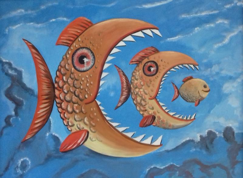 Fische   I2003 Öl/Acryl auf Leinwand  122 x 95 cm