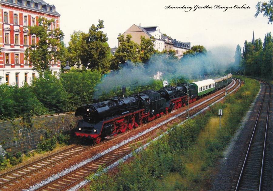 Dampflokomotiven 41 1144 (IGE Werrabahn) + 03 1010 (DB Museum) mit Heizhausexpress bei Chemnitz Süd