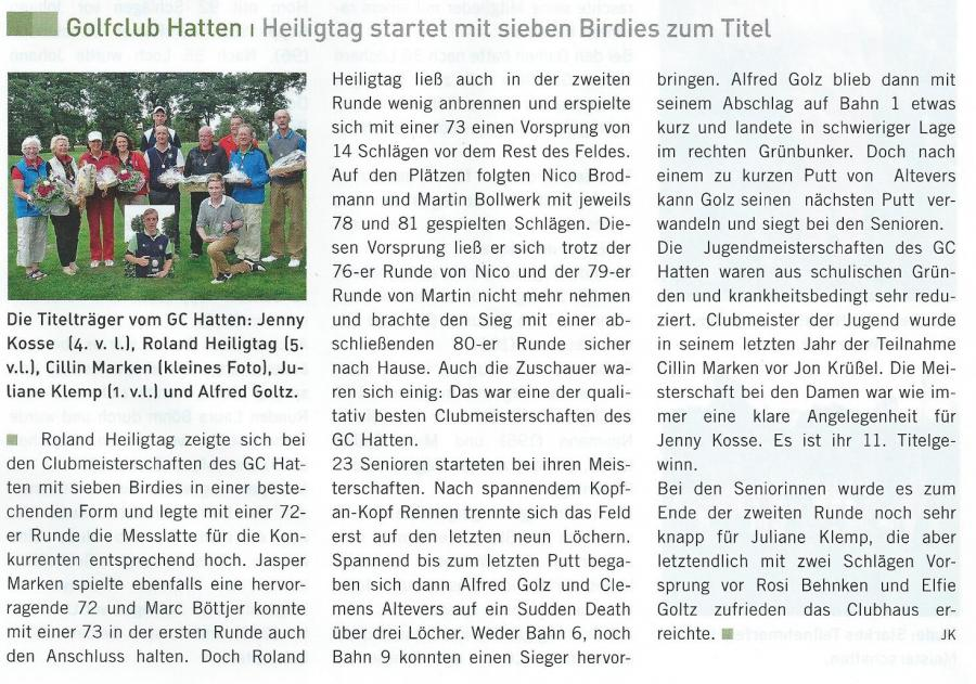 Golfmagazin Weser-Ems Herbst 2013