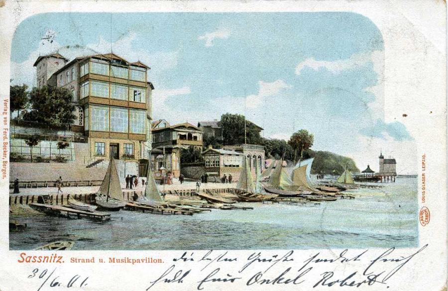 Sassnitz Strand u. Musikpavilon 1901