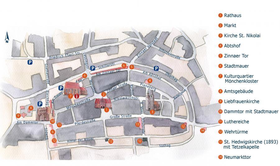 Stadtplan von Jüterbog, Illustration Berida, Malerei und Illustration, Rostock, www.berida.de