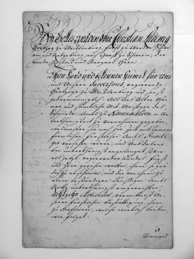 Die Urkunde des Schmiedeamts vom 5. April 1749 (Seite 1)