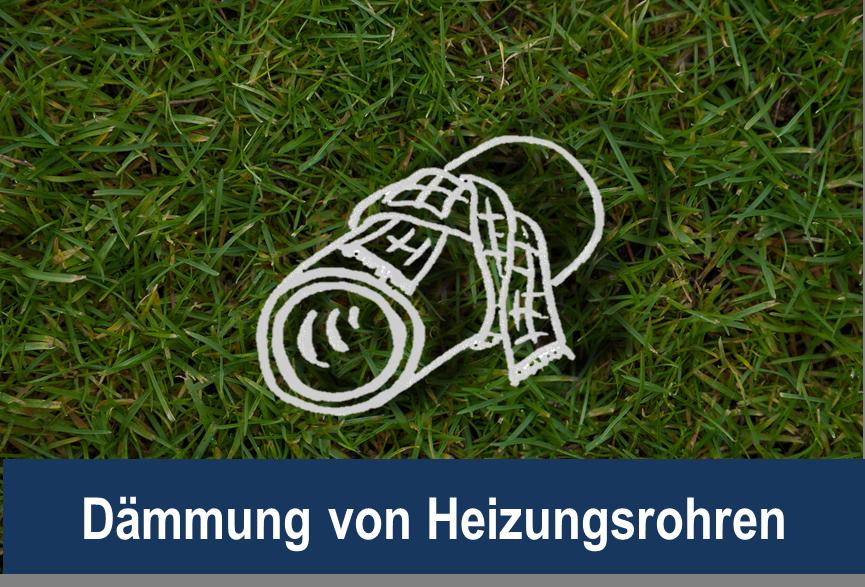 Link zu Dämmung von Heizungsrohren; Bild zeigt ein gezeichnetes Heizungsrohr mit einem Schal auf Rasen