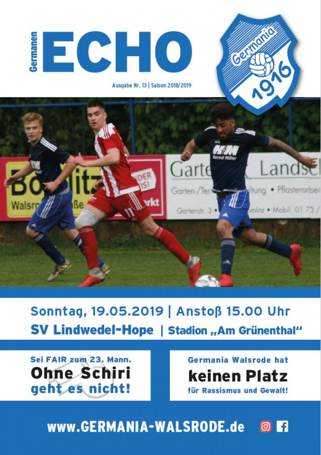 Germanen-Echo Nr.13 - SV Lindwedel-Hope 19.05.2019