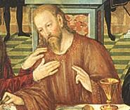 Detail aus dem Abendmahlsbild von Lucas Cranach in der St. Johanniskirche, Dessau