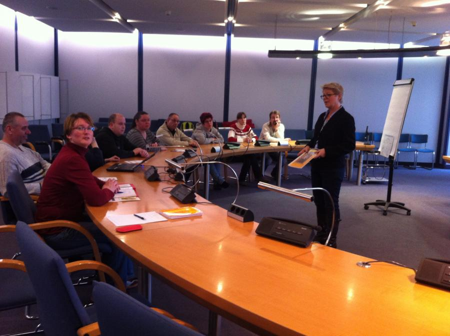 Einer der ersten Termine: Im Gespräch mit Frau Sylvia Müller (Behindertenbeauftragte der Stadt Dresden)