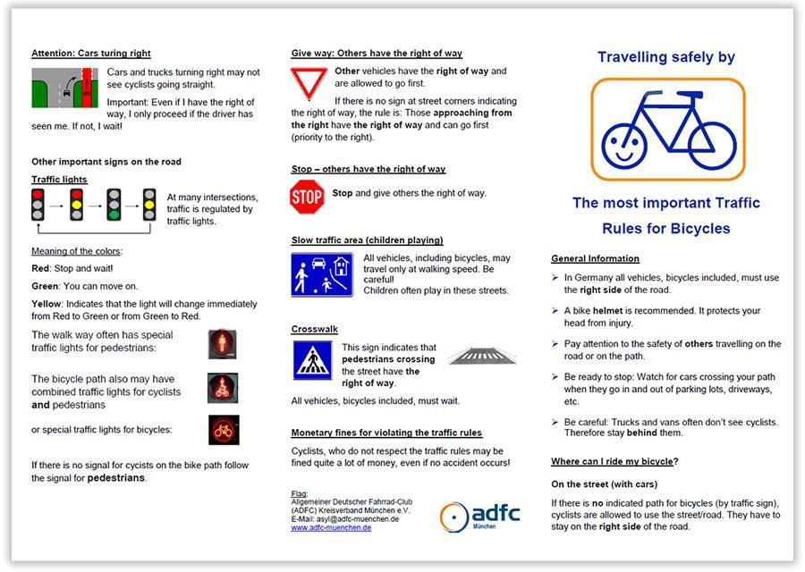 ADFC-Flyer Verkehrsregeln (Cover englisch)