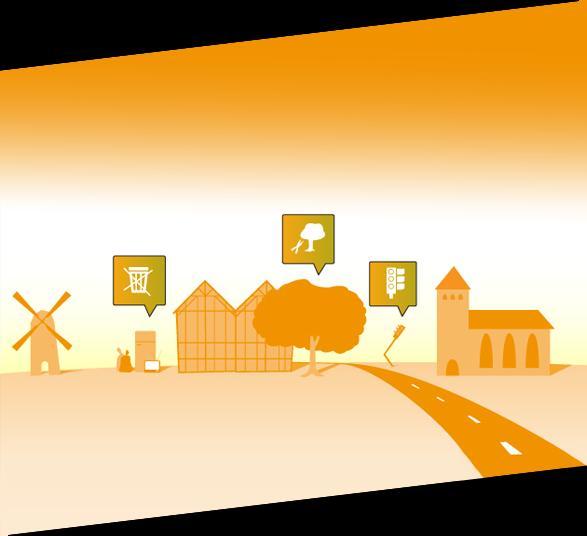 Bild zeigt ein Dorf in dem Ereignisse in Sprechblasen angezeigt werden.