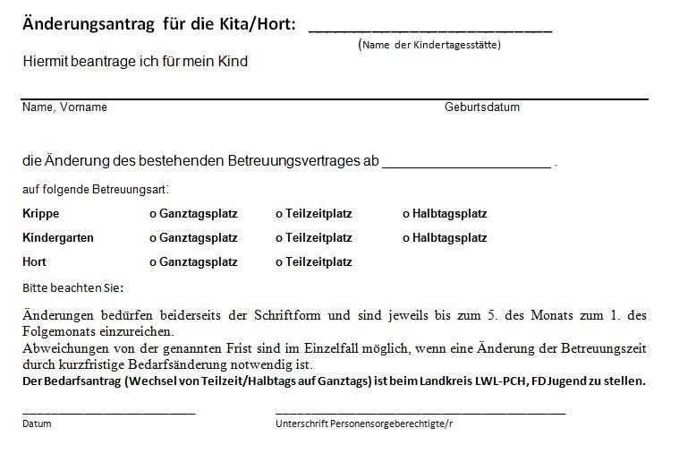 Änderungsantrag für Kita / Hort (Voransicht)