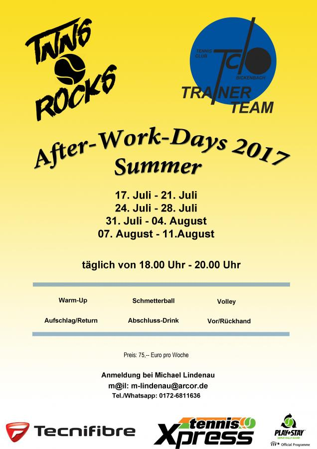 Afterwork days in den Sommerferien 2017