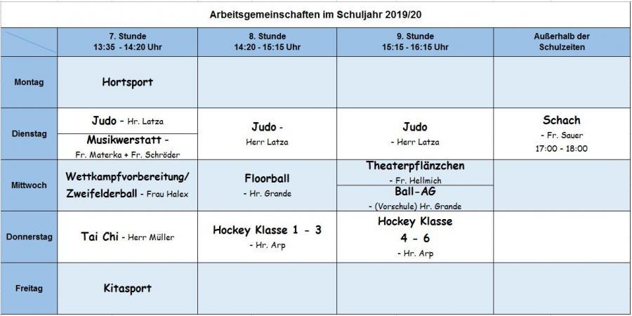 Übersicht AG-Zeiten im Schuljahr 2019/20