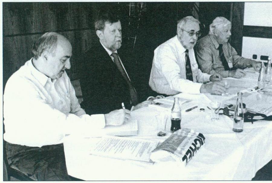 Der A.I.J.P. – Vorstand mit Herbert Judmaier, Aad Knikman, Wolfgang Maassen und Jochen Stenzke (v.l.)