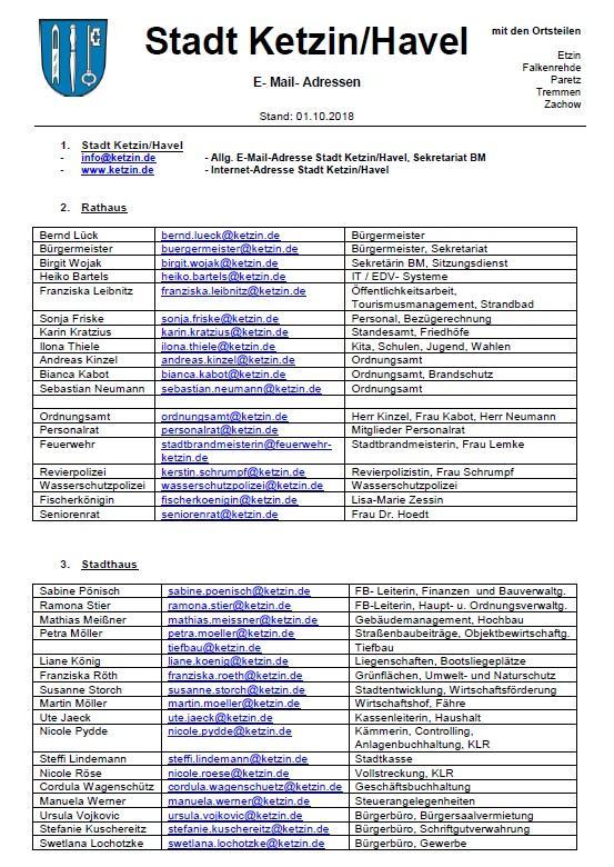 Aktuelle E-Mail- Adressen Stadt Ketzin 20181003_1