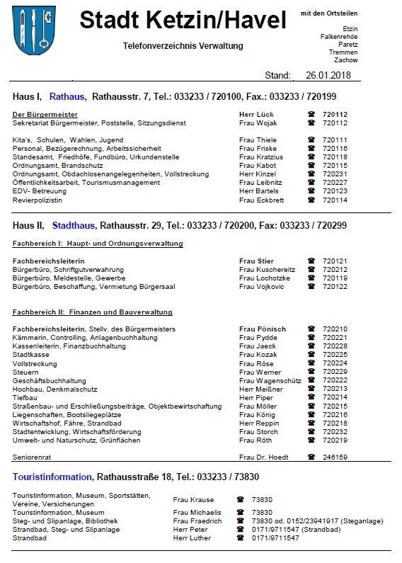Aktuelles Telefonverzeichnis Verwaltung 26.01.2018
