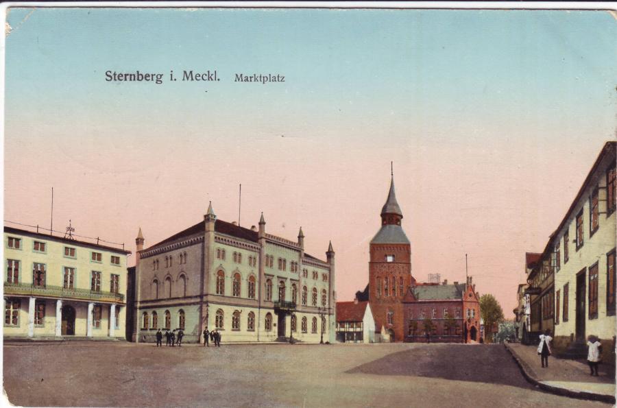 Alte Postkarte vom Sternberger Marktplatz