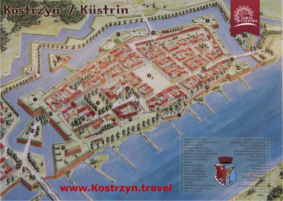 Zeichnung der Küstriner Altstadt von Robert Jurga