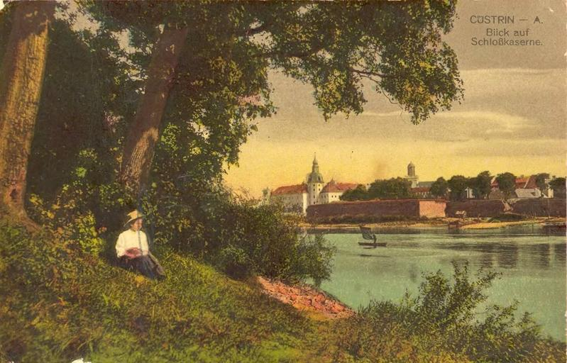 Der Oder-Fluss mit Schloss und Festung Küstrin