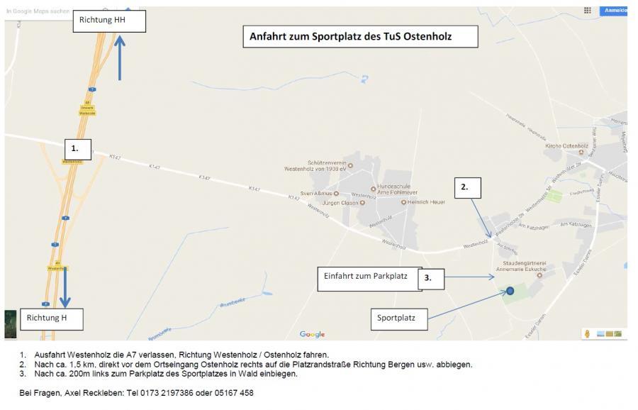 Anfahrt Sportplatz TuS Ostenholz