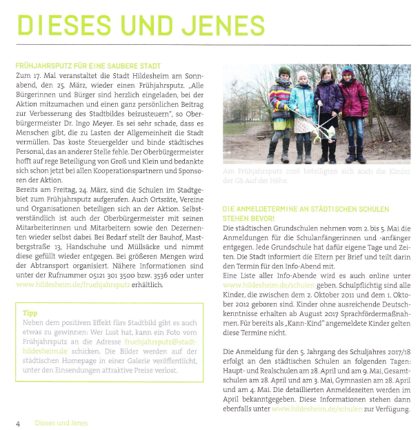 "Ankündigung Frühjahrsputz 2017 im Familienmagazin ""Wir hier"" Januar 2017"