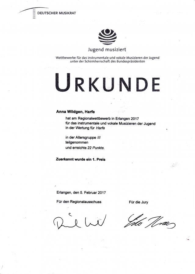 Urkunde Anna Wildgen