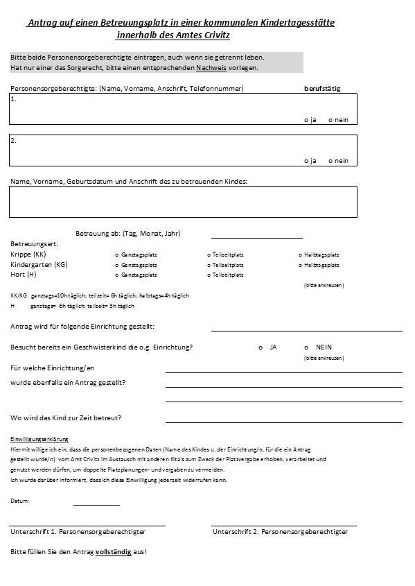 Antrag auf einen Betreuungsplatz (Voransicht)