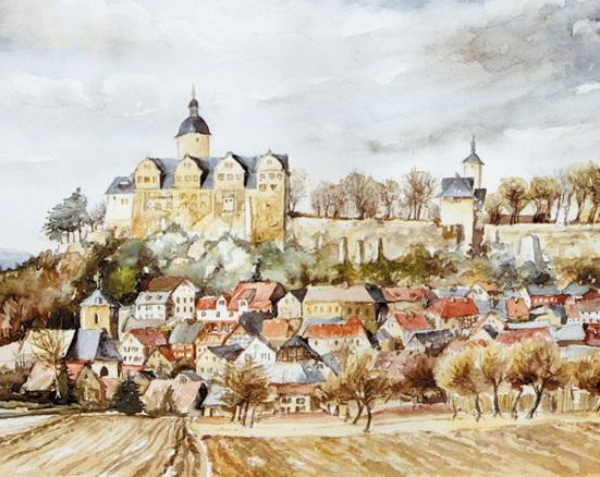 Gottfried Maak: Aquarell Burg Ranis