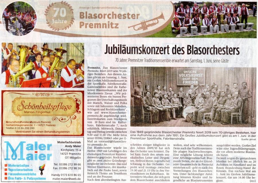 70 Jahre Blasorchester Premnitz