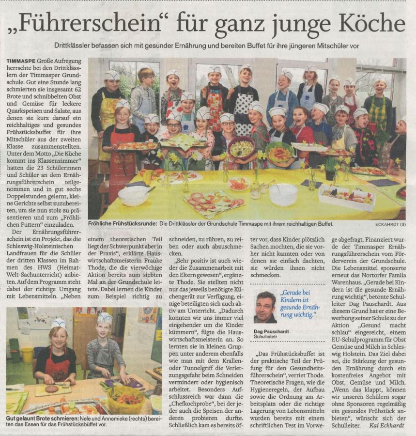 """Artikel """"Ernährungsführerschein"""" der Nortorfer Zeitung vom 13.04.18"""